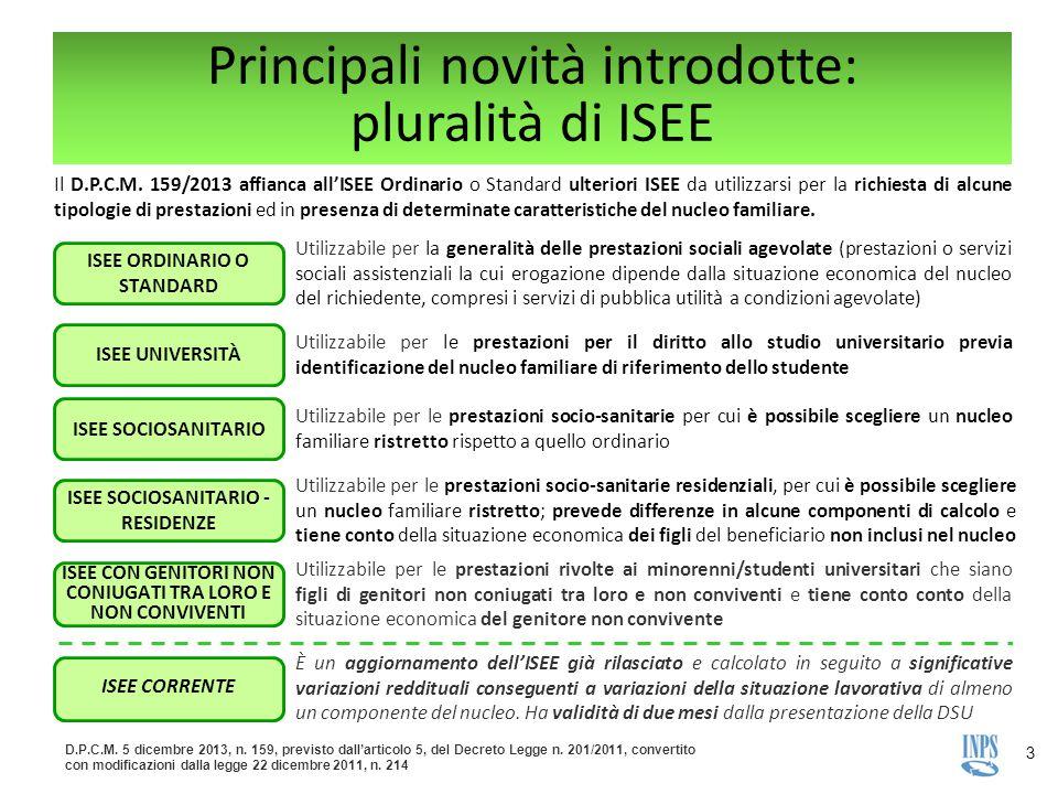 Principali novità introdotte: pluralità di ISEE