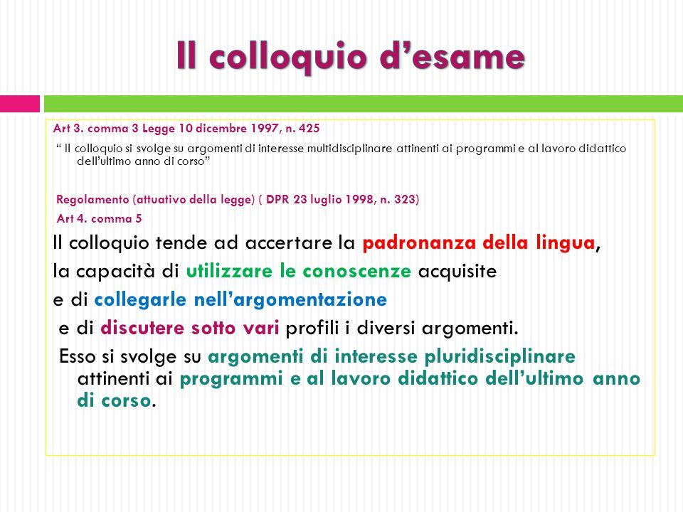 Il colloquio d'esame Art 3. comma 3 Legge 10 dicembre 1997, n. 425.