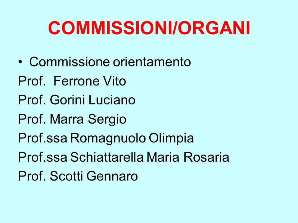 COMMISSIONI/ORGANI Commissione orientamento Prof. Ferrone Vito