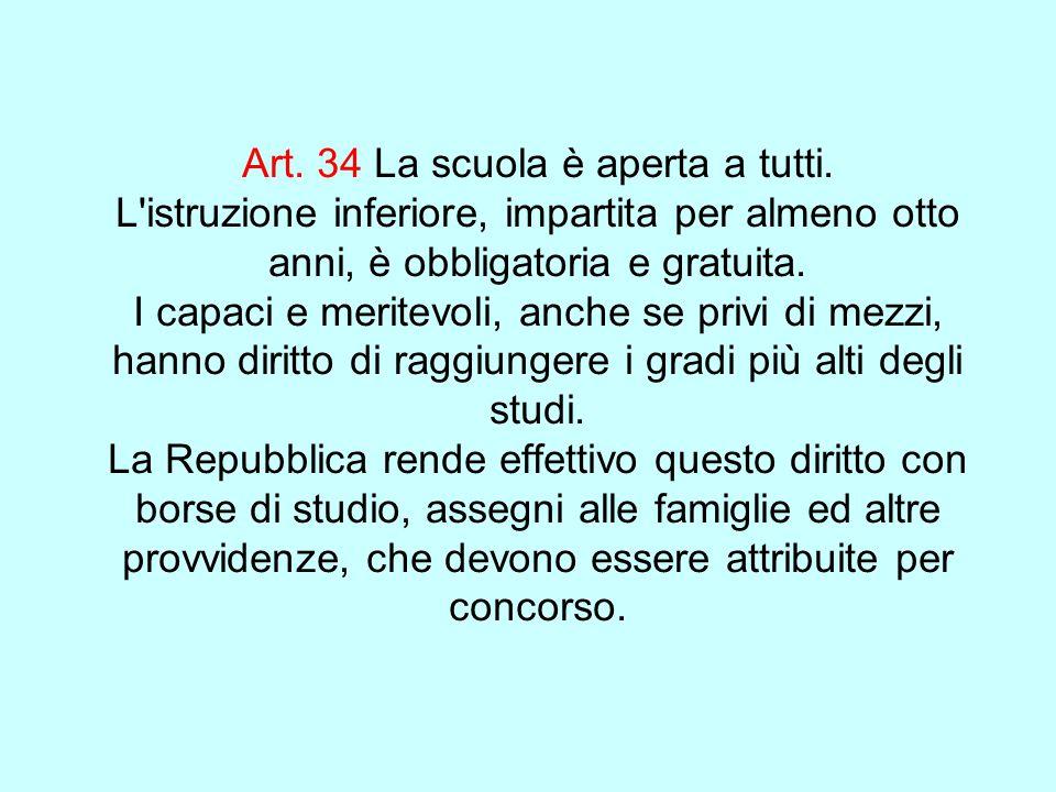 Art. 34 La scuola è aperta a tutti