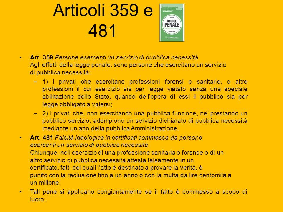 Articoli 359 e 481