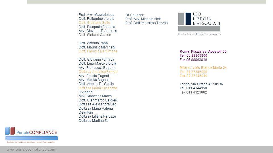 15 www.portalecompliance.com Prof. Avv. Maurizio Leo
