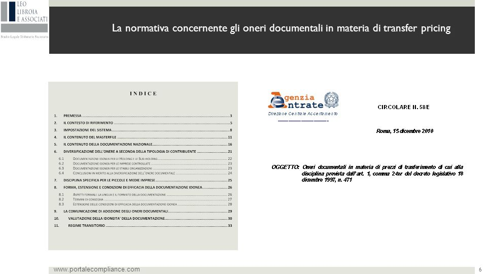 La normativa concernente gli oneri documentali in materia di transfer pricing