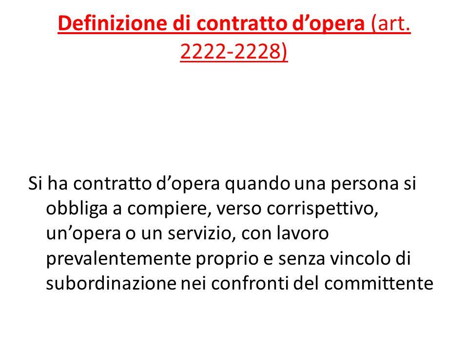 Definizione di contratto d'opera (art. 2222-2228)