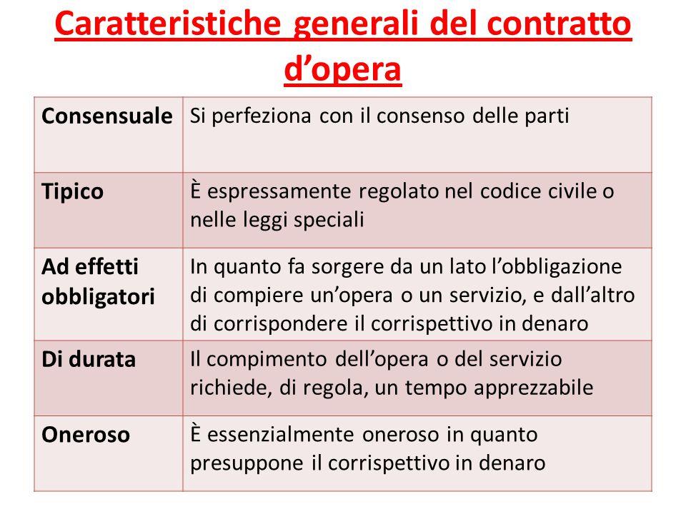 Caratteristiche generali del contratto d'opera