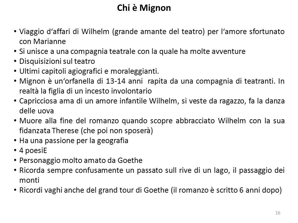 Chi è Mignon Viaggio d'affari di Wilhelm (grande amante del teatro) per l'amore sfortunato con Marianne.