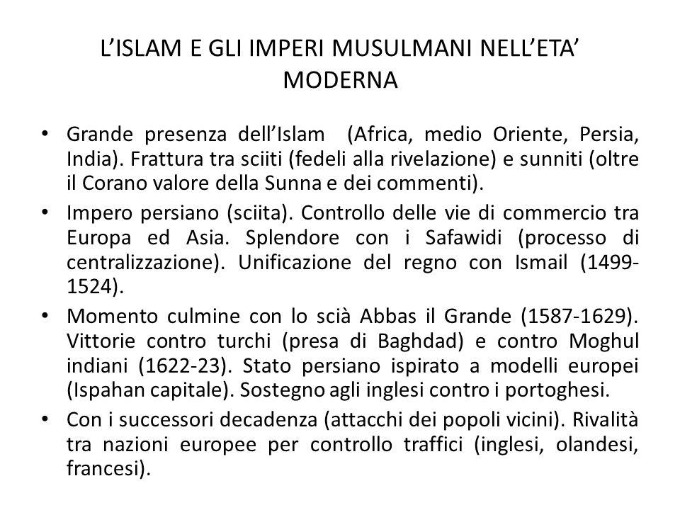L'ISLAM E GLI IMPERI MUSULMANI NELL'ETA' MODERNA