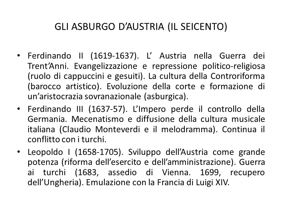 GLI ASBURGO D'AUSTRIA (IL SEICENTO)