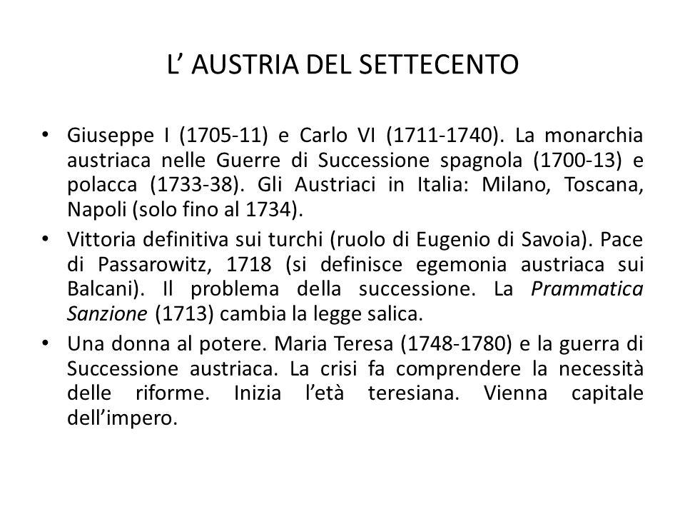 L' AUSTRIA DEL SETTECENTO
