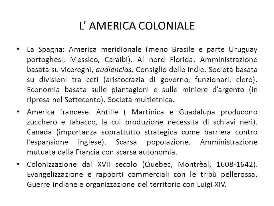 L' AMERICA COLONIALE