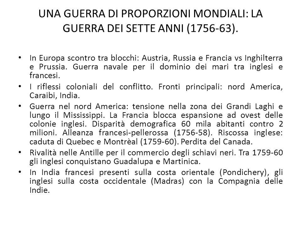 UNA GUERRA DI PROPORZIONI MONDIALI: LA GUERRA DEI SETTE ANNI (1756-63).