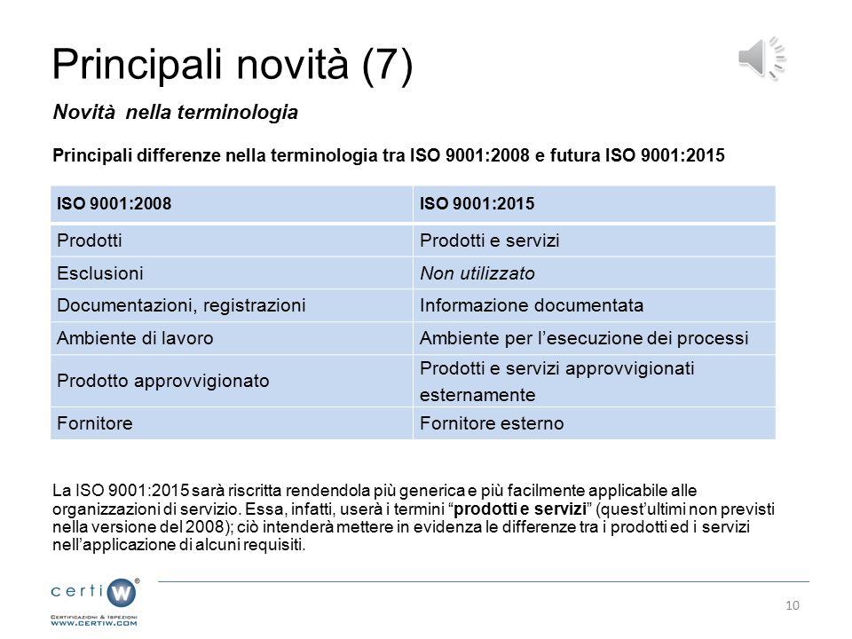 Principali novità (7) Novità nella terminologia Prodotti