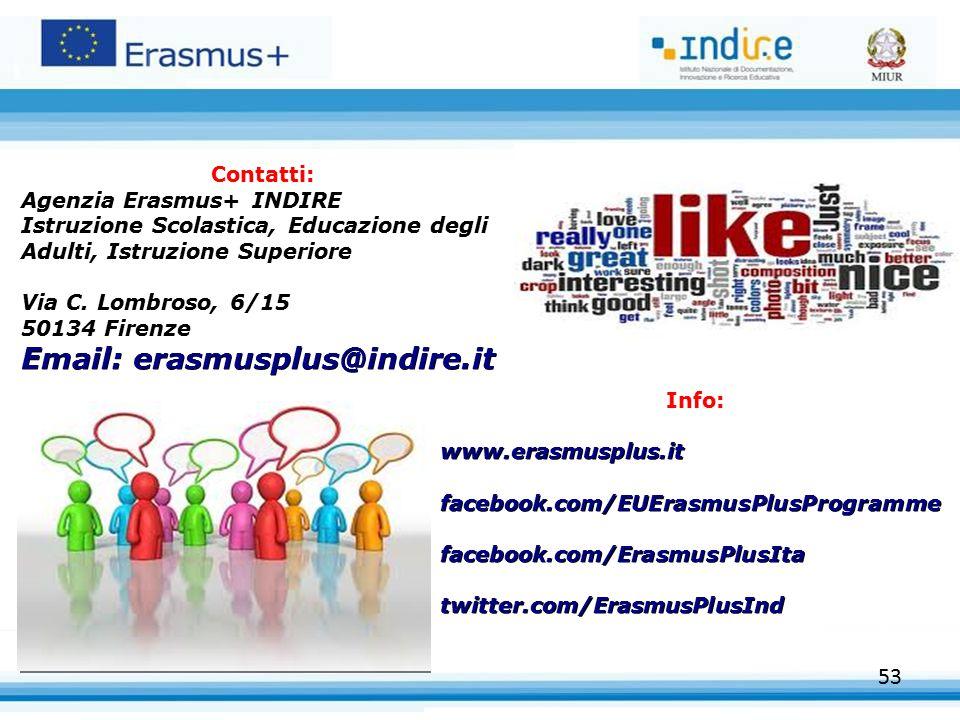 Contatti: Agenzia Erasmus+ INDIRE. Istruzione Scolastica, Educazione degli Adulti, Istruzione Superiore.