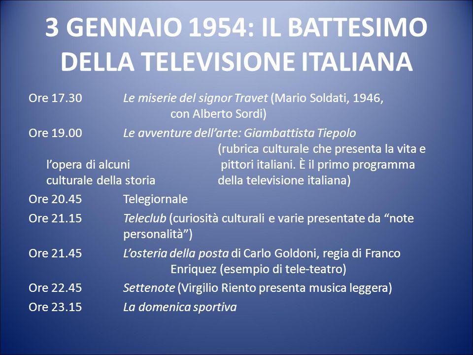 3 GENNAIO 1954: IL BATTESIMO DELLA TELEVISIONE ITALIANA