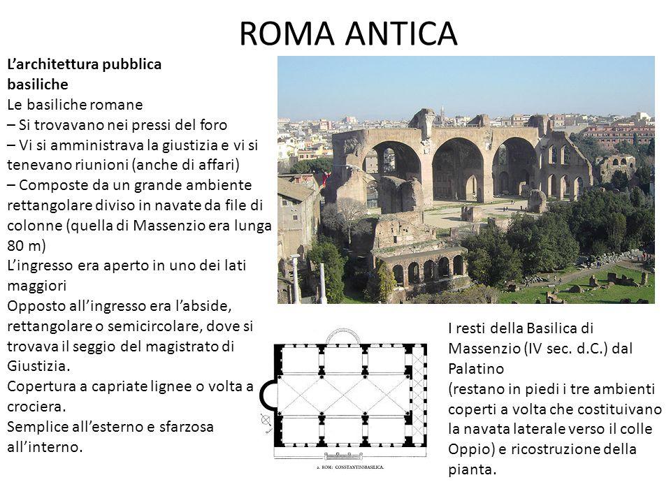 ROMA ANTICA L'architettura pubblica basiliche Le basiliche romane