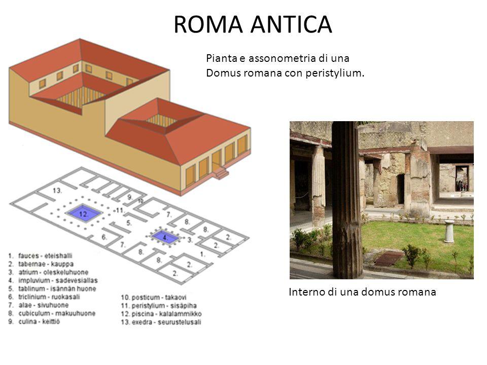 ROMA ANTICA Pianta e assonometria di una Domus romana con peristylium.