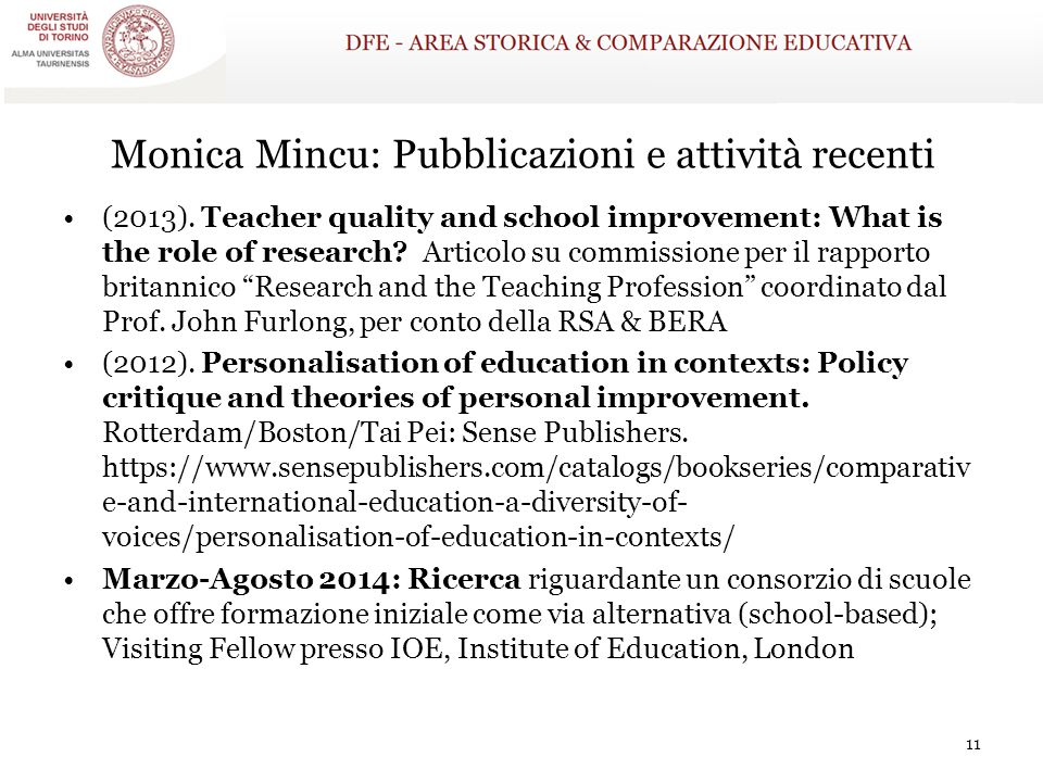 Monica Mincu: Pubblicazioni e attività recenti
