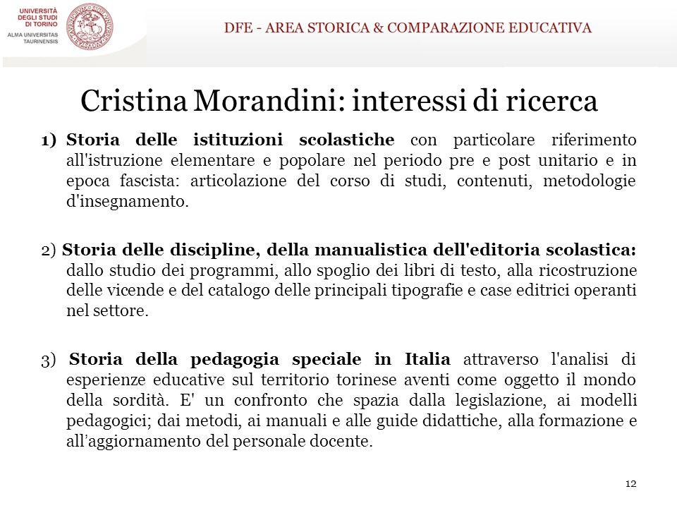 Cristina Morandini: interessi di ricerca