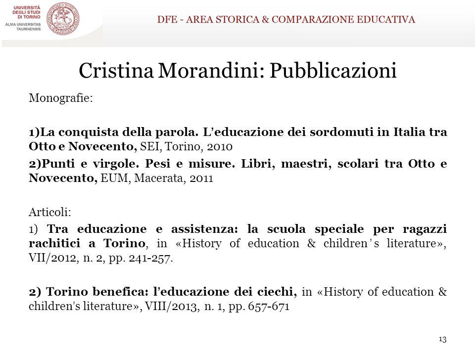 Cristina Morandini: Pubblicazioni