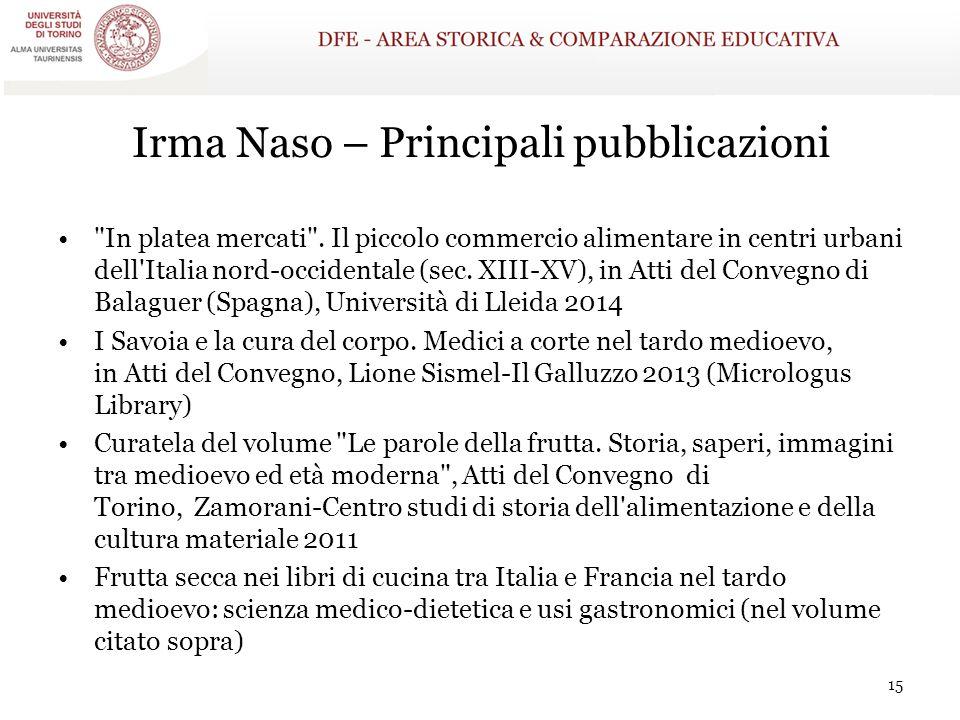 Irma Naso – Principali pubblicazioni