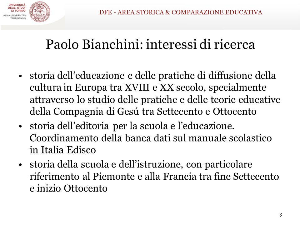 Paolo Bianchini: interessi di ricerca