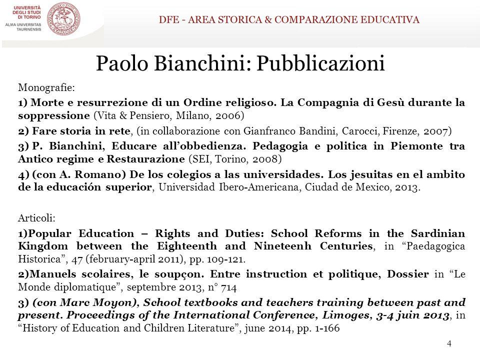 Paolo Bianchini: Pubblicazioni