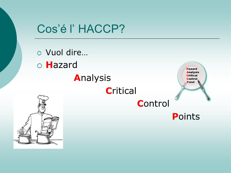 Cos'é l' HACCP Vuol dire… Hazard Analysis Critical Control Points