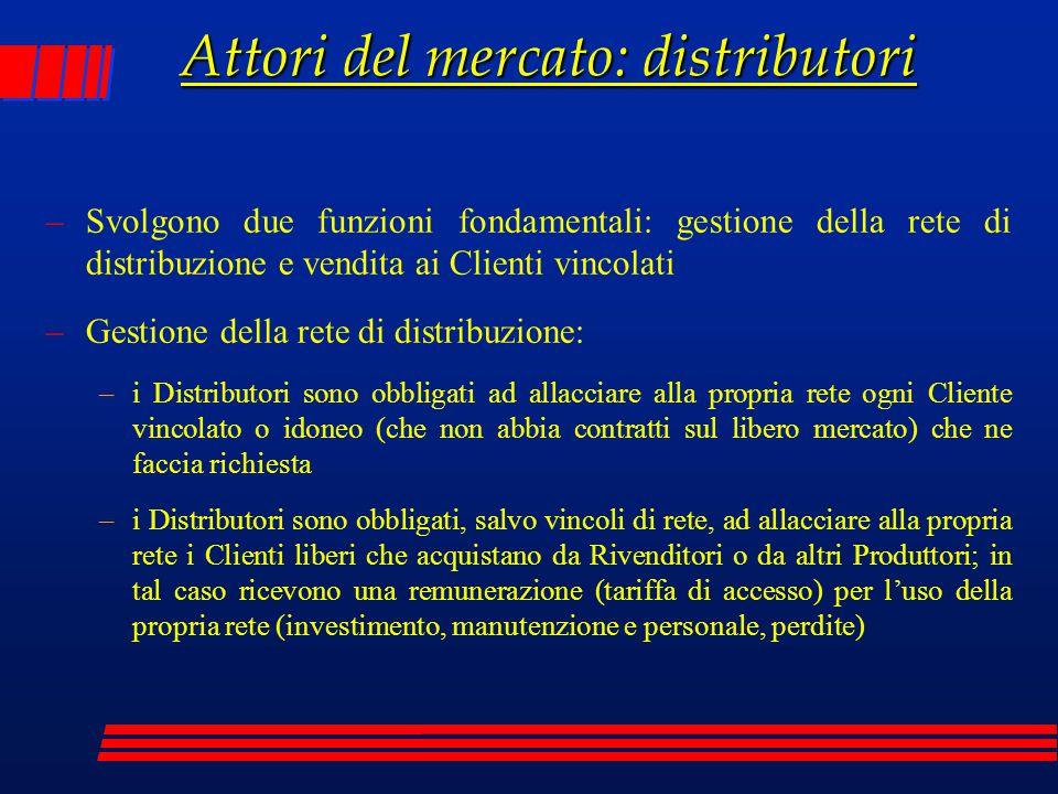 Attori del mercato: distributori