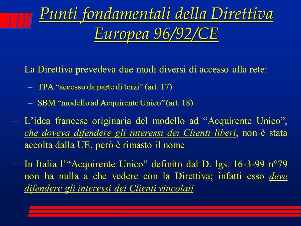 Punti fondamentali della Direttiva Europea 96/92/CE