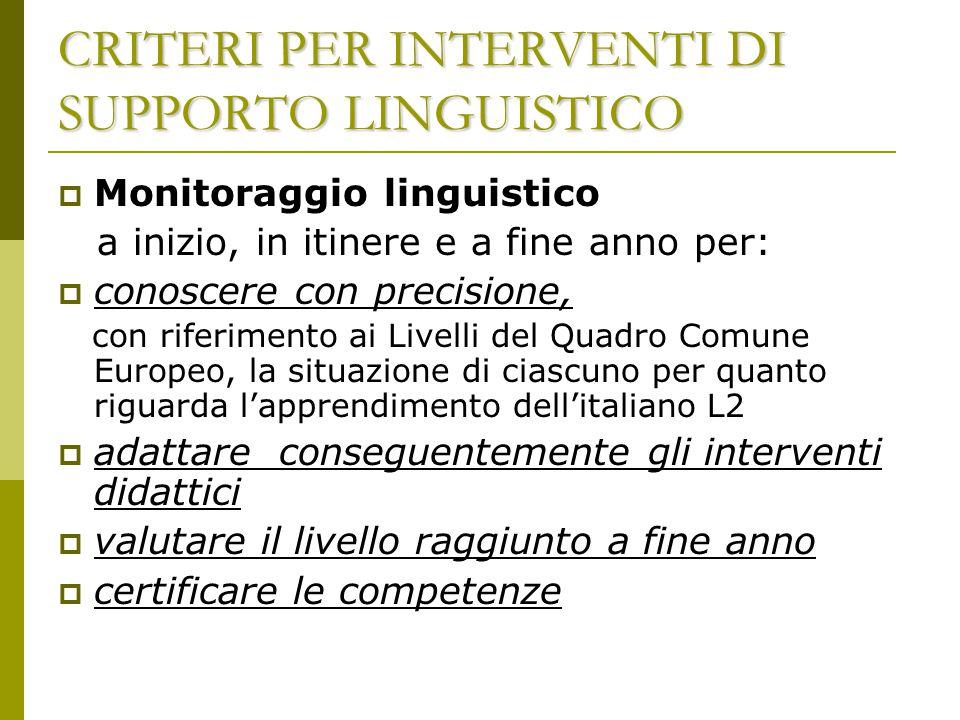 CRITERI PER INTERVENTI DI SUPPORTO LINGUISTICO