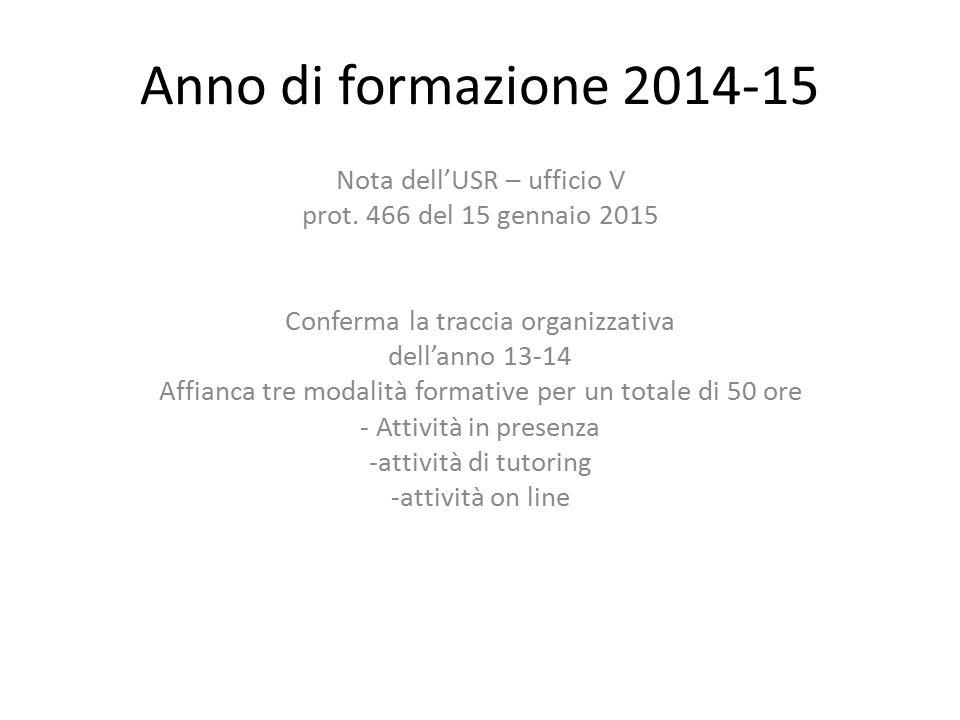 Anno di formazione 2014-15 Nota dell'USR – ufficio V