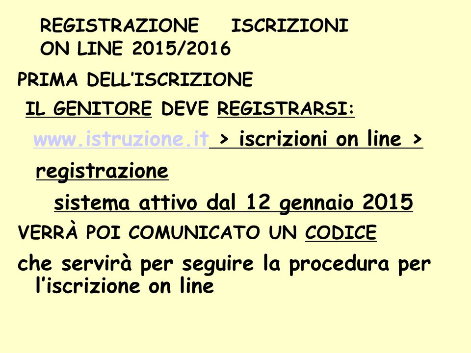 REGISTRAZIONE ISCRIZIONI ON LINE 2015/2016