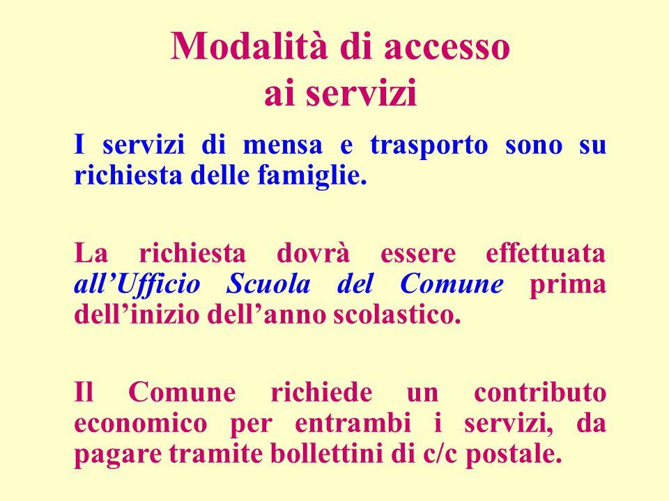 Modalità di accesso ai servizi