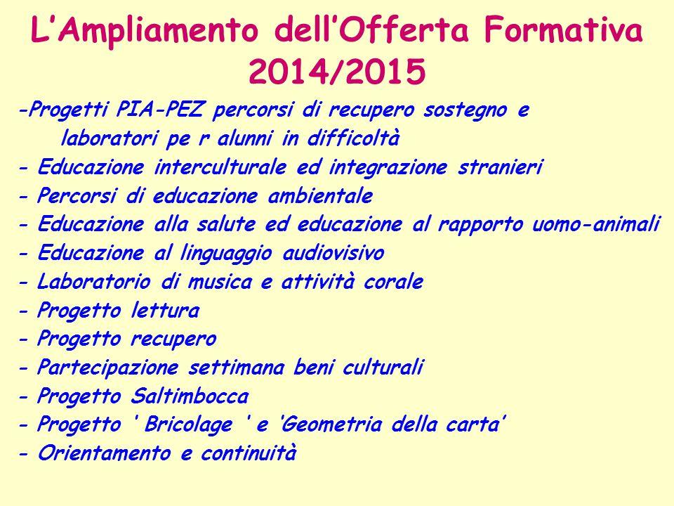 L'Ampliamento dell'Offerta Formativa 2014/2015