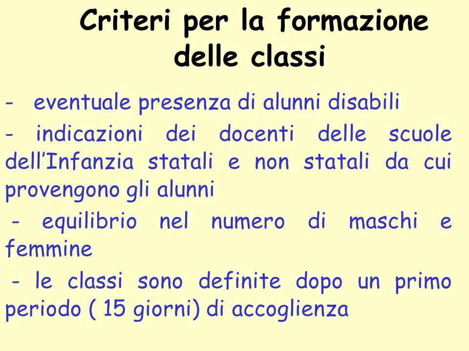 Criteri per la formazione delle classi