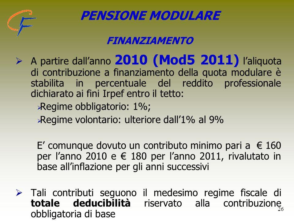 PENSIONE MODULARE FINANZIAMENTO