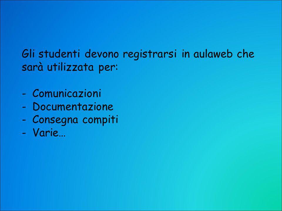 Gli studenti devono registrarsi in aulaweb che sarà utilizzata per: