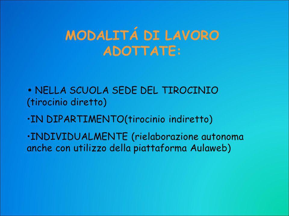 MODALITÁ DI LAVORO ADOTTATE: