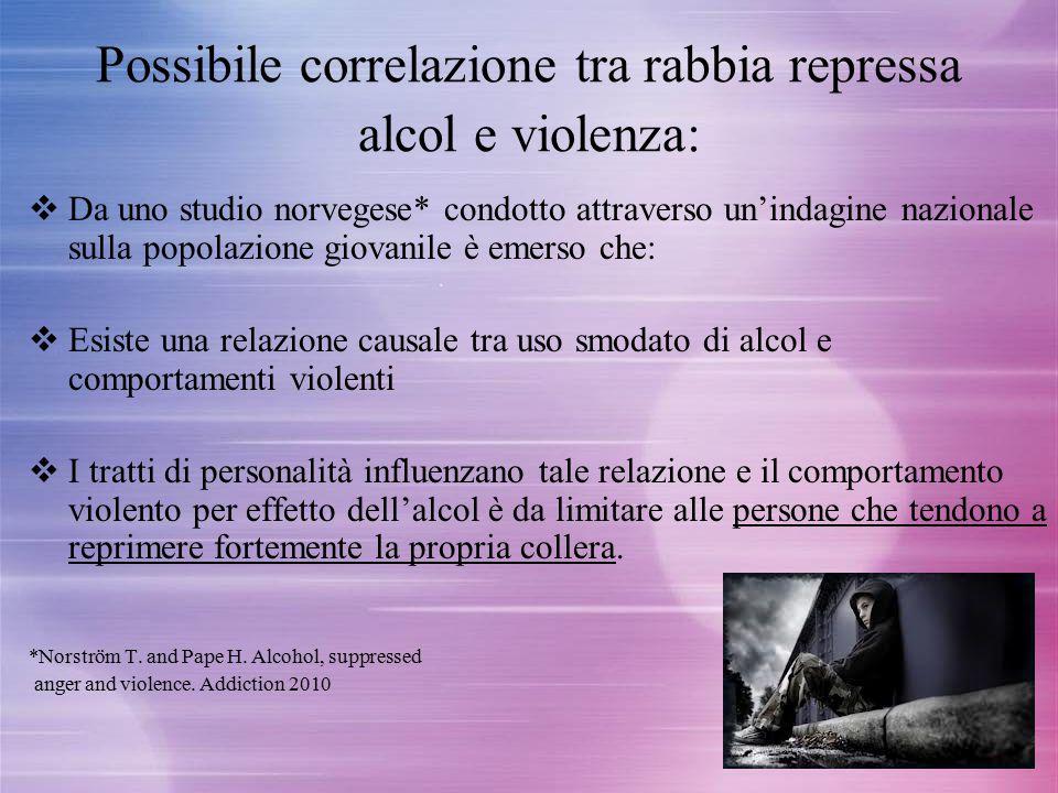 Possibile correlazione tra rabbia repressa alcol e violenza: