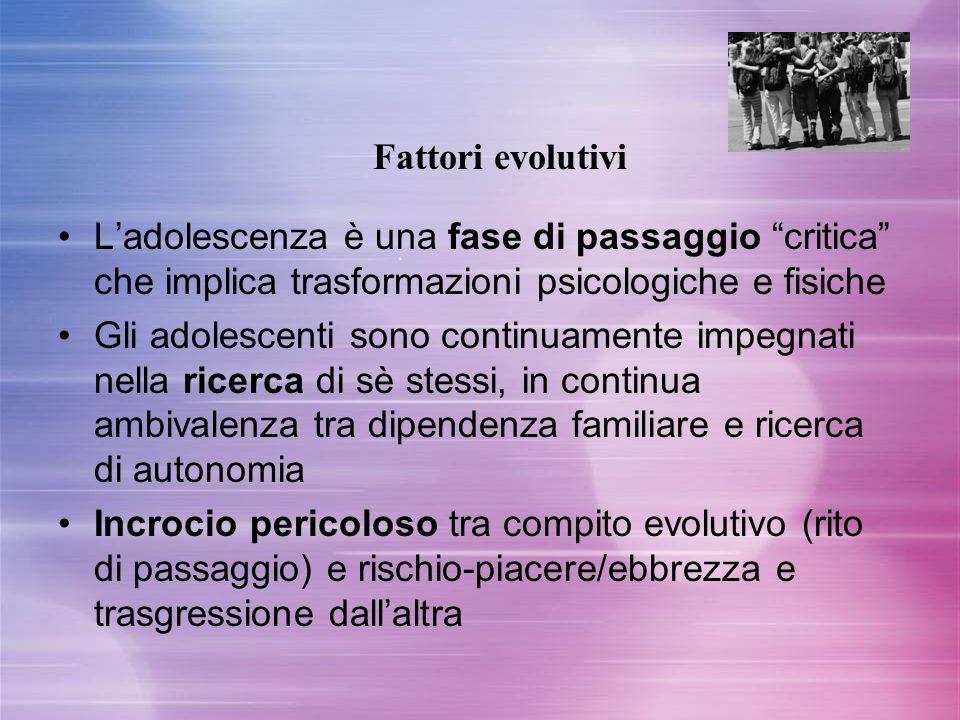 Fattori evolutivi L'adolescenza è una fase di passaggio critica che implica trasformazioni psicologiche e fisiche.