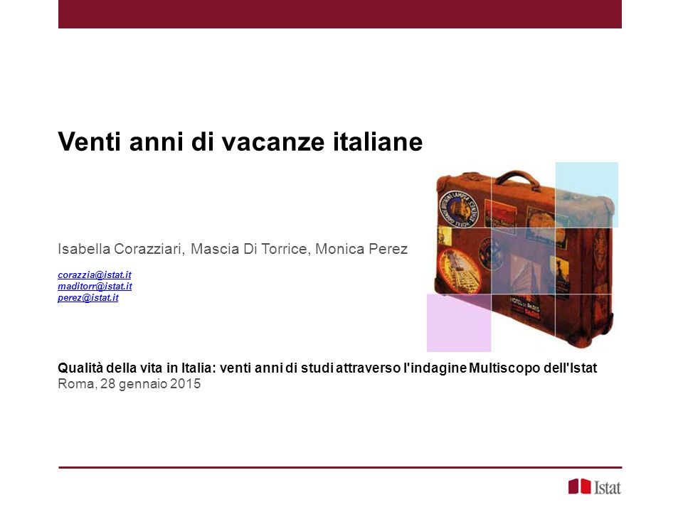 Venti anni di vacanze italiane