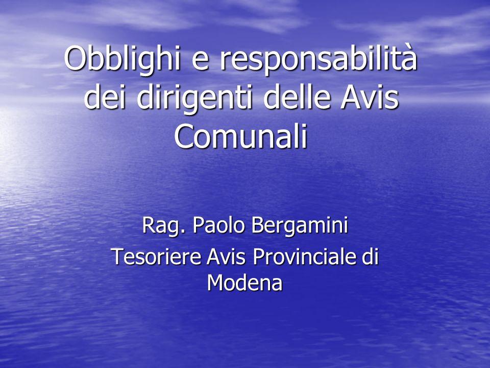 Obblighi e responsabilità dei dirigenti delle Avis Comunali