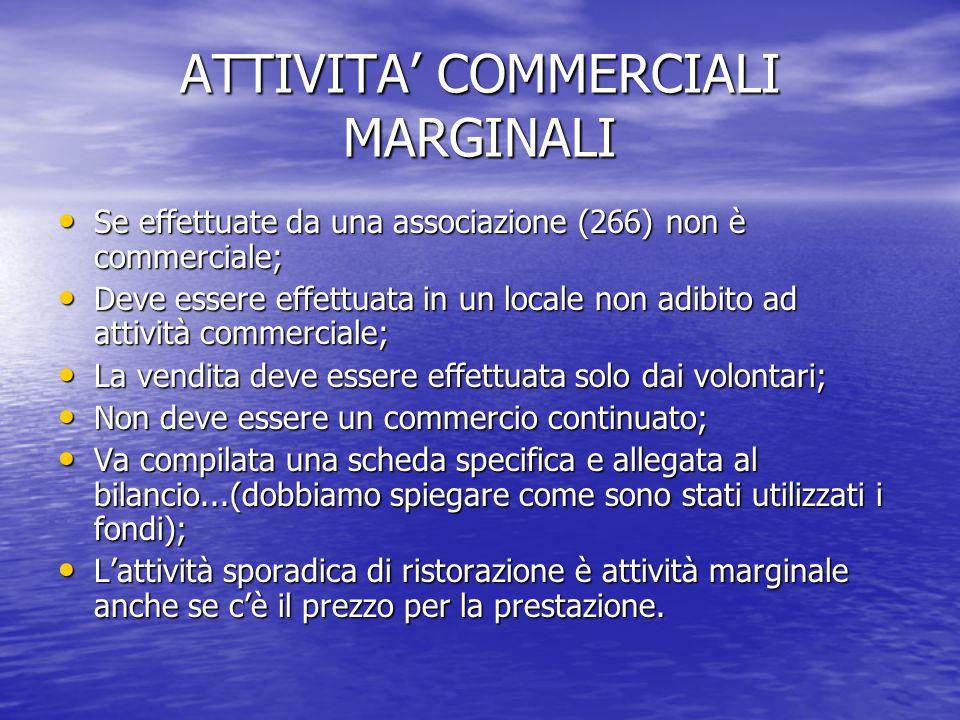 ATTIVITA' COMMERCIALI MARGINALI