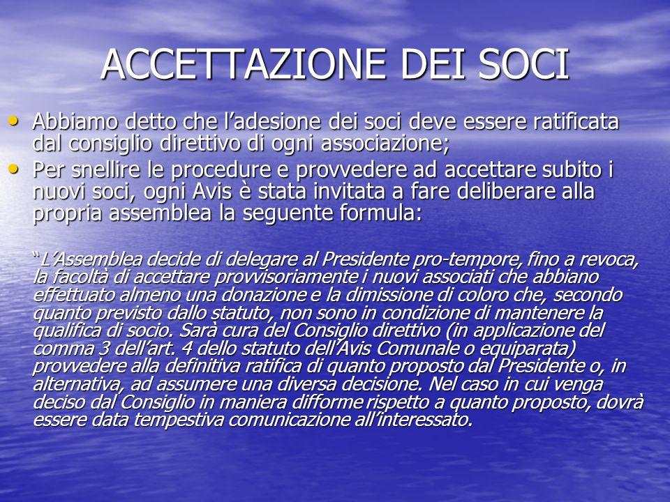 ACCETTAZIONE DEI SOCI Abbiamo detto che l'adesione dei soci deve essere ratificata dal consiglio direttivo di ogni associazione;