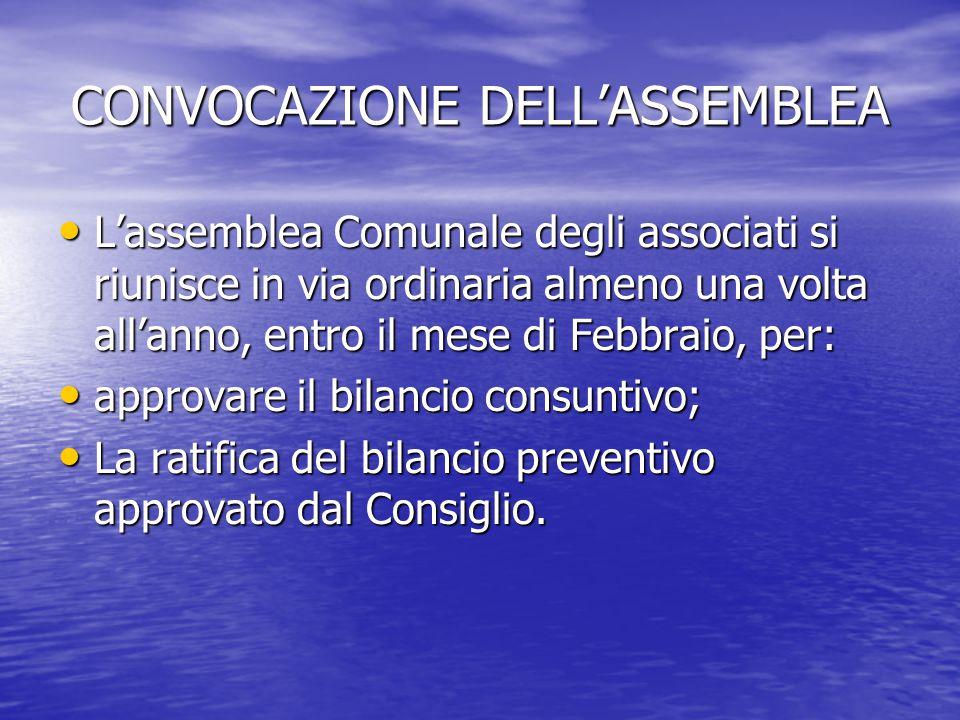 CONVOCAZIONE DELL'ASSEMBLEA