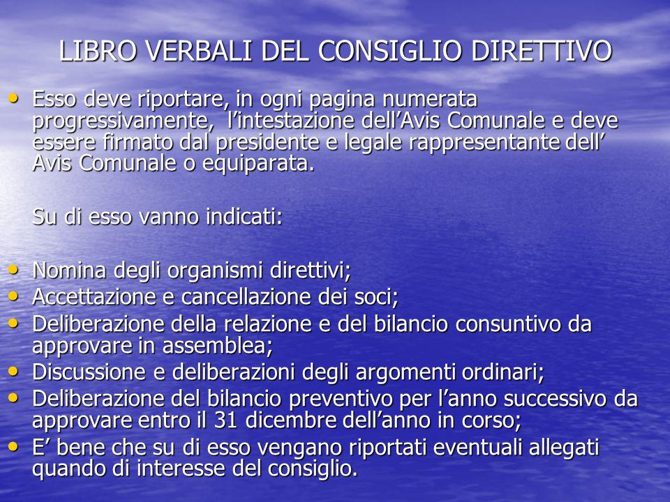 LIBRO VERBALI DEL CONSIGLIO DIRETTIVO