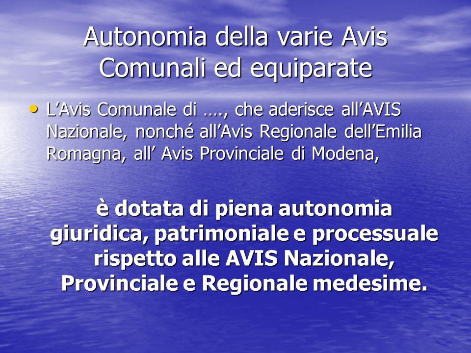 Autonomia della varie Avis Comunali ed equiparate