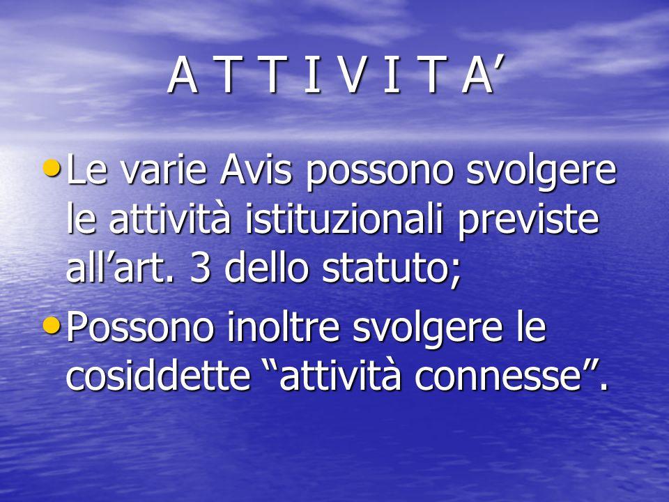 A T T I V I T A' Le varie Avis possono svolgere le attività istituzionali previste all'art. 3 dello statuto;