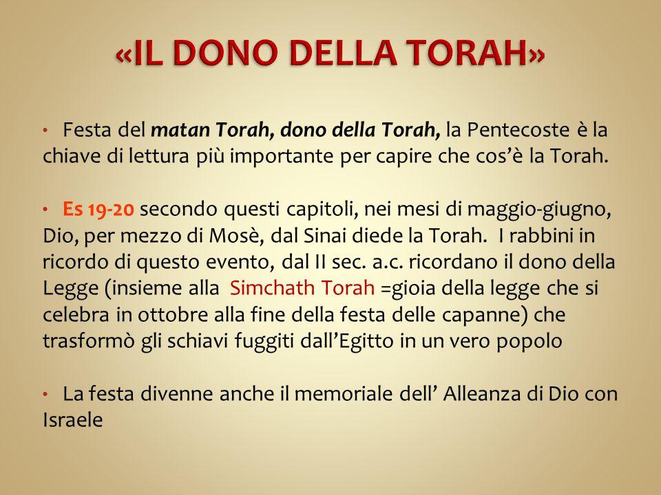 «IL DONO DELLA TORAH» Festa del matan Torah, dono della Torah, la Pentecoste è la chiave di lettura più importante per capire che cos'è la Torah.