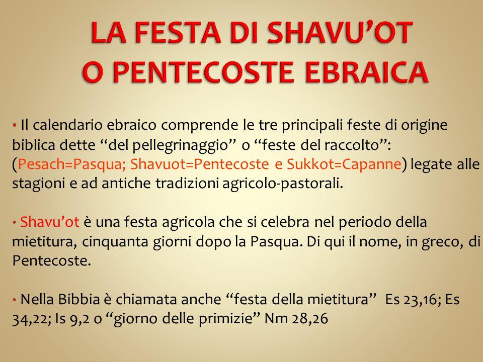 LA FESTA DI SHAVU'OT O PENTECOSTE EBRAICA